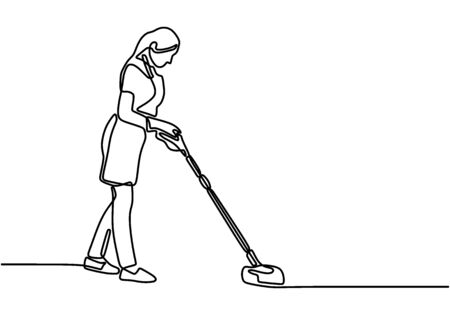 Continuous single drawn one line woman doing cleaning. Young female cleaning the floor using mop. Woman housewife cleans. The concept of cleaning offices and houses. Vector illustration.