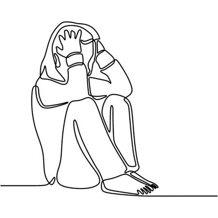 Continuous line drawing of exhausted sad young woman covering his face by hands. Female suffering from depression. Girl in despair sitting on the ground. Frustration and depression person concept. Illustration