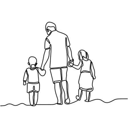 One line drawing of father and his two children holding hands. Young daddy and his children walking on the street minimalist design. Family time concept. Vector illustration Vetores