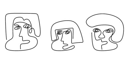 Abstract face one line drawing. Modern faces and hairstyle, fashion concept, woman or man. Set of three abstract face. Portrait minimalistic style. Fashion model with a white background. Vector.