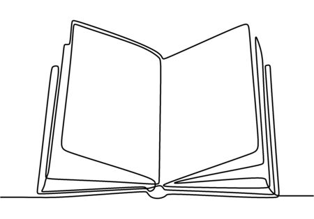 Book one line drawing banner. Opened book with pages on the table isolated on white. Happy study with book. Back to school concept. Vector illustration education supplies back to school theme. Иллюстрация