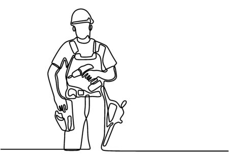 One single line drawing of young handyman wearing helmet while holding drill machine. Handsome handyman using drill machine to drilling wooden wall. Repairman construction maintenance service concept