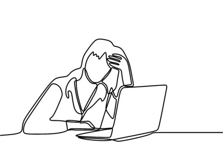 Continuous line drawing of woman with laptop feels frustrated expressing distress and annoyance of display on her notebook. Her business go bankrupt. Frustration and depression worker concept.