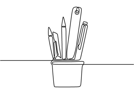 One continuous line drawing of pencil case, ruler, and marker on office desk. Stationery for study and tidy on the table. Happy study. Smart education concept vector illustration.