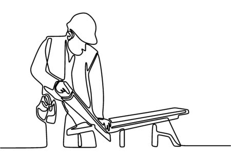 One continuous line drawing of young handsome handyman cut wooden board. Professional carpenter cut wooden boards. Building construction service concept one line draw design illustration