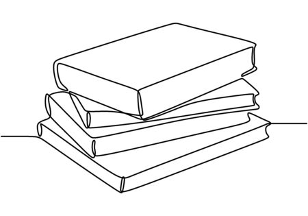 One line drawing of stack of books. Book is window of world. Study, learning with book. Smart education concept vector illustration. Good for banner read book concept