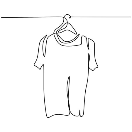 One line drawing of isolated vector object t-shirt on hanger. Clothes on a hanger concept. Fitting room icon on white background. Minimalistic style. Continuous vector line illustration