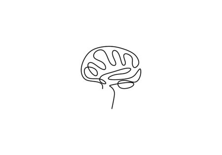 One line brain design silhouette. Brain implants. Neural implants. Human brain creativity hand drawn minimalism style vector illustration. Anatomical human concept isolated on white background. Çizim