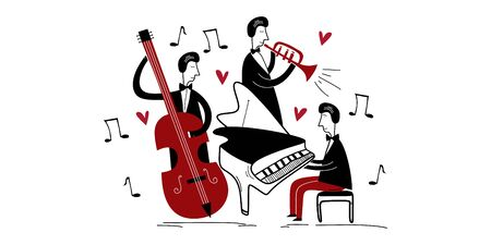 Jazz band music festival. Three jazz players playing group music in a concert isolated flat vector. Pianist playing piano, trumpet, and cello. Creative cartoon style.