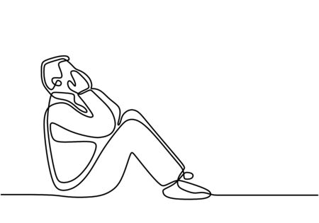 Continuous line drawing of man in depression. Exhausted sad young male covering his face by hands and sitting on the ground. Frustration and depression human concept. Vector illustration design