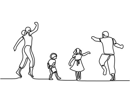 Continuous one line drawing. Happy family mother and father playing with children. Young parents running and jumping together with children. Vector illustration on white background Vector Illustration