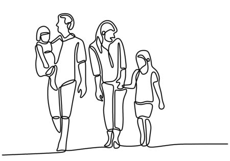 Continuous line parents walking with two children. Happy family holiday and spending time together. Mom and dad playing with their children in outdoor. Parenting characters. Vector illustration