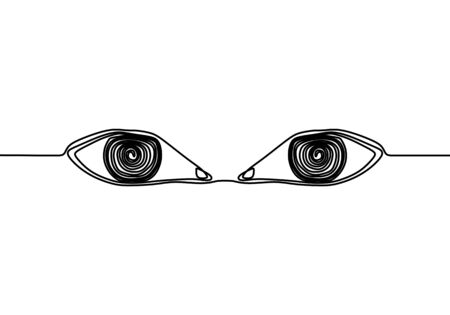 One continuous line drawing of human eyes minimalistic linear sketch. Keen eyes with full of meaning. Expressing anger and disappointment line art. Vector design hand drawn illustration. Vektoros illusztráció