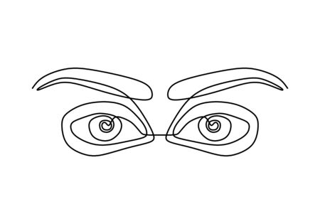 One continuous line drawing of human eyes minimalistic linear sketch. Keen eyes with full of meaning. Expressing anger and disappointment line art. Vector design hand drawn illustration.
