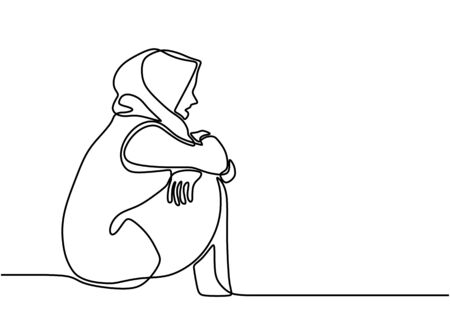 Sad and lonely woman. Muslim girl sitting alone, holding her knee with an empty view. Expression very desperate and anxiety. Seen harboring a lot of sadness. Continuous hand drawn sketch design