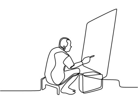 One line drawing of painter artist. A man sitting and focus painting an artwork on canvas. Male holding paint brush. Meaningful abstract paintings continuous hand drawn minimalism.