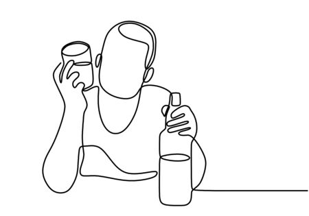 Man with a glass and a bottle of wine one line continuous line art drawing vector illustration isolated on white background. Character young male drunk at the table on a bar. Minimalist style.