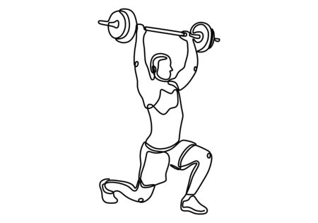 One line drawing or continuous line art of a strong athletic guy lifting weights and bodybuilder training. Weightlifter line drawn from the hand a picture of the silhouette. Vector illustration