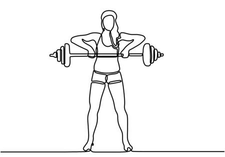 One single line drawing of young energetic woman exercise lifting barbell in gym fitness center vector illustration. Lady work out. Healthy lifestyle sport concept. Modern continuous line draw design