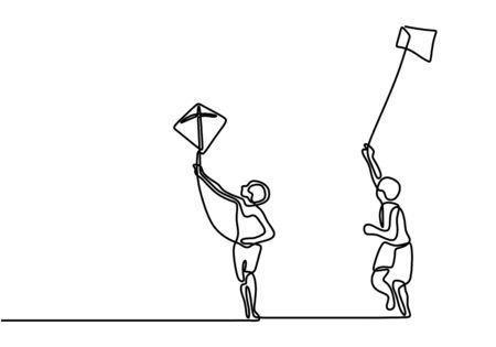 One continuous line drawing of two boy playing to fly kite up into the sky at outdoor field. Freedom and passion creative theme hand drawn minimalist conceptual design. Vector illustration