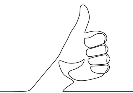 One line drawing of hand showing great sign. The hand with the raised finger is drawn by one line on a white background. Hand drawn vector illustration of linear like gesture. Minimalism design