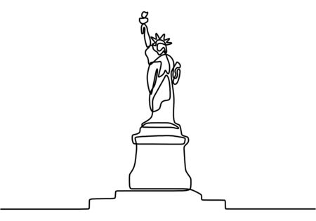 Statue of Liberty continuous line illustration. Landmark of New York city. Holiday vacation poster print concept hand drawn art line doodle isolated minimal illustration cartoon character flat Archivio Fotografico - 150372267