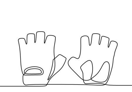 Pair of latex gloves. Continuous one line drawing of rubber glove for protect cleaning, medicine, scientist and cosmetology. Black simple illustration of disposable medical protection against virus