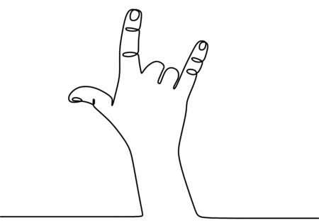Hand language one continuous line art. Rock and roll hand gesture symbol in line style isolated on white background. Three fingers up. Tattoo, print and logo design. Vector illustration Ilustrace