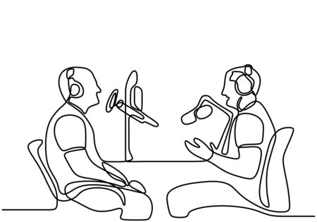 Two man sits in headphones at the microphone and broadcasts. One continuous line drawing of a young guy doing a podcast by interviewing the other man. Speaks into a microphone. Vector illustration