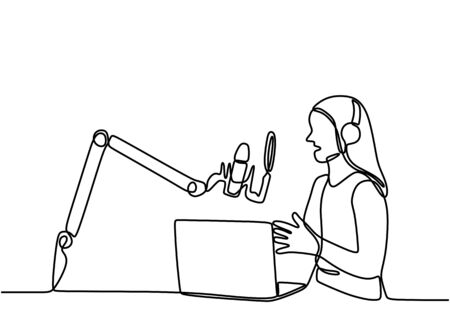 Continuous line drawing podcast girl. Young woman as a presenter or guest podcast sits and speaks into a microphone cheerfully. Vector one line art simplicity illustration minimalist design