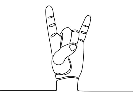 Hand language one continuous line art. Rock and roll hand gesture symbol in line style isolated on white background. Two fingers up. Tattoo, print and logo design. Vector illustration Ilustrace
