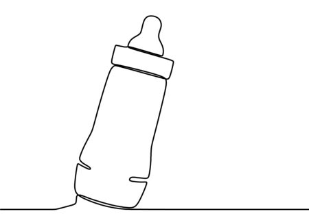 Continuous single drawn one line bottle for feeding babies. Bottle of baby pacifier. Baby feeding concept line art minimal design isolated on white background. Vector illustration