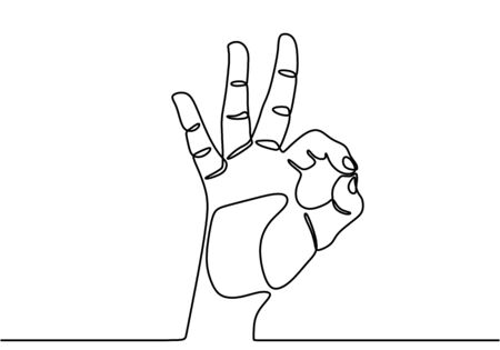 Single line drawing of hand showing OK sight. Fingers showing symbol of a great state. Hand gesture logo concept graphic art design isolated on white background. Vector illustration Logos