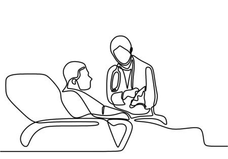 Continuous line drawing of doctor check patient lying in bed. Specialist doctor explains the results of the patient's examination. Hospital scene concept isolated on white background Ilustración de vector