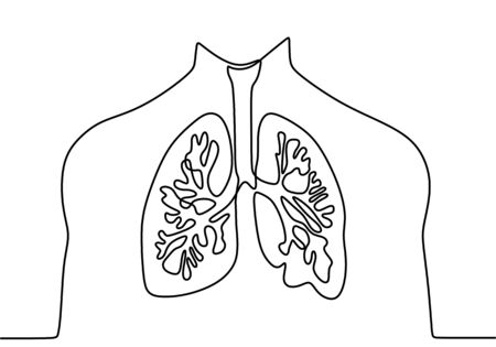 Single continuous line art of lungs. Healthy medicine against smoking concept design world no tobacco day tuberculosis one sketch outline drawing vector illustration. Anatomy concept.