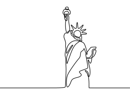 Statue of Liberty continuous line illustration. Landmark of New York city. Holiday vacation poster print concept hand drawn art line doodle isolated minimal illustration cartoon character flat