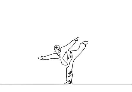 Man is doing Taekwondo training continuous single line drawing vector illustration. Pofessional senior male standing with one leg while arms stretched out to train body balance minimalist style Stock Illustratie