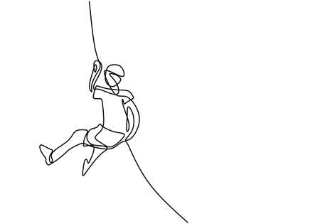 A person holding a line for climbing a wall. One continuous line of climber with rope. Energetic young man climb up across wall. Rock climbing sport concept hand draw. Vector design illustration
