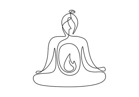 Woman doing yoga exercise continuous one line vector illustration minimalism style. Beautiful young girl sitting crossing leg with yoga lotus pose isolated on white background. Minimalism style Vettoriali
