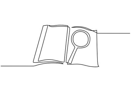 Magnifier hand drawn by one continuous line art drawing vector illustration minimalist design isolated on white background. A magnifying glass above an open book. Zoom in and discovery concept.