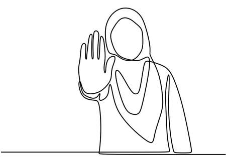 Woman showing stop gesture one line vector drawing. A muslim girl giving reject expression with her hands. NO sign. The concept woman prohibition minimalist style. Vector design illustration Ilustração