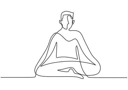 Continuous line art or one line drawing of man doing exercise in yoga pose. Energetic young male sitting crossing leg with yoga lotus pose. Man practice yoga for meditation. Vector illustration. Vettoriali