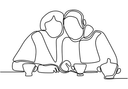 Continuous one line drawing of romantic couple. Romantic elderly couple. Happy grandparents isolated on white background. Old grandfather and grandmother. Minimalism vector illustration hand drawn  イラスト・ベクター素材