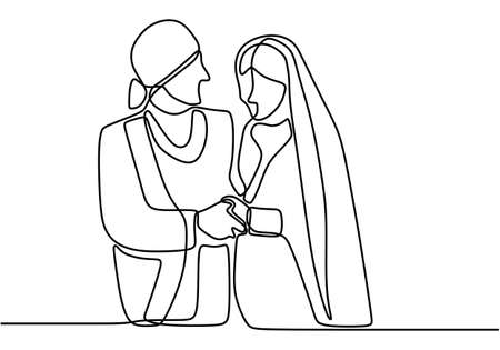 One continuous drawn line wedding drawn from the hand picture silhouette. Happy newly married couple holding hands. The characters of the bride and groom of the husband and wife are married