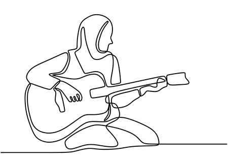 One continuous drawn line pretty hijab girl playing acoustic guitar at home vector illustration hand drawn minimalist design music theme. Single one line art muslimah woman with a guitar. Stock fotó - 150588959