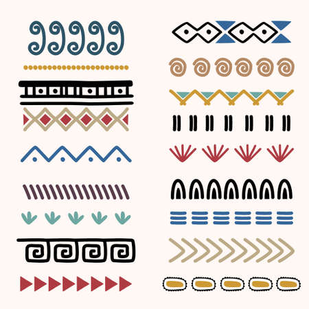 Tribal Indian collections set with round ornaments, patterns and elements. Cute of ethnic artistic patterns. Hand drawn vector illustration. Good for fabric, paper, and wallpaper