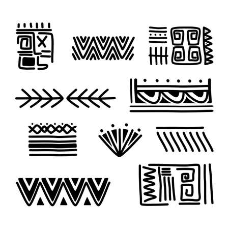 Tribal Indian collections background with round ornaments, patterns. Aztec art design elements. Hand drawn vector illustration. Good for fabric, paper, and wallpaper