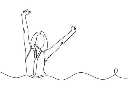 Continuous line drawing of happy woman expression. Beautiful lady with short hair expression winning and very cheerful. Girl hands up freedom expression concept. Vector illustration.