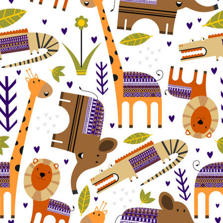 Cute jungle animals with flower, palm leaf, plants seamless pattern background. Tropical animals. Perfect for decorative, kid product, fashion, fabric, wallpaper and all print. Vector illustration