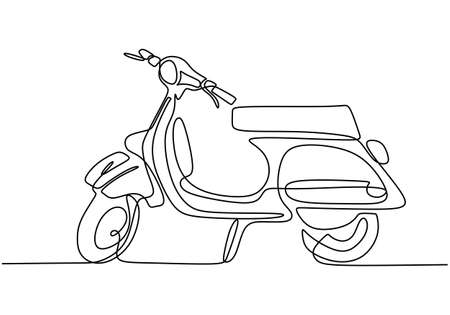 Classic scooter. Continuous one line art classical scooter motorcycle vector illustration isolated on white background. Vintage Asian underbone motorbike logo. Retro transportation concept